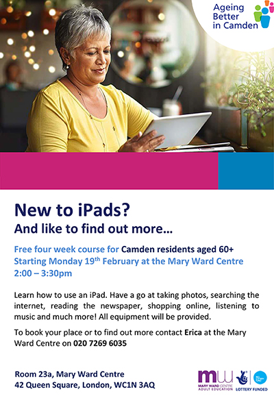 ipad course, over 60, mary ward centre, part time courses, london