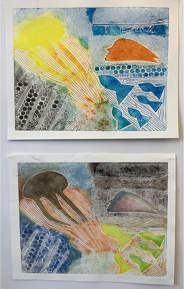 12. SUSAN FROST. Title: Shoreline. Reminded of distant travels and times past. Collagraph print. Each inking I worked with a new limited colour palette.