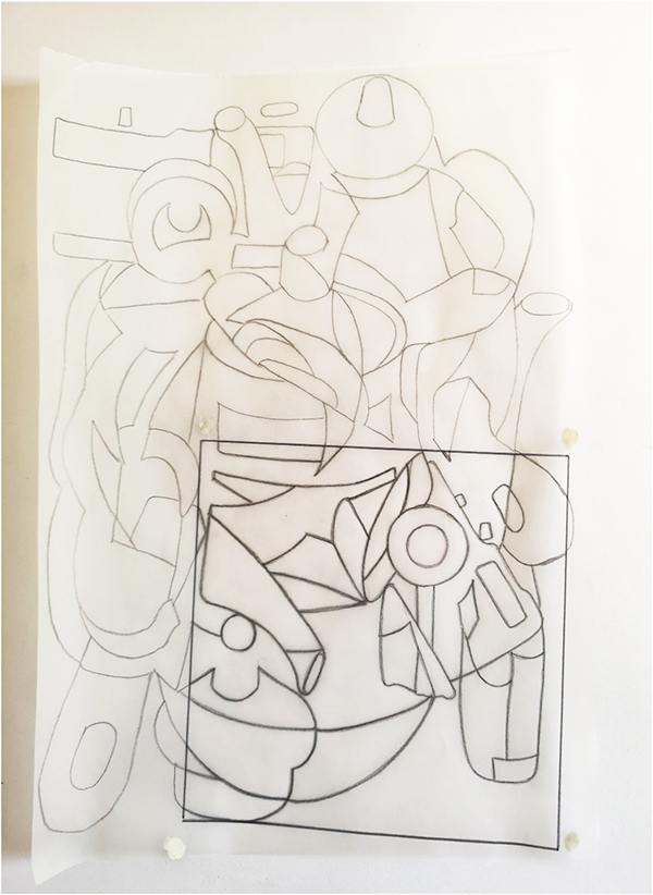 13. SUZANNE ILLIDGE. Title: Work in Progress. Multiple layers of drawing.