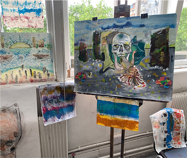 15. BEKIM MORINA. Title: Flotsam & Jetsam/Last Sequence. Mixed Media: Acrylics, Ink and Pastel on Bread and Butter Paper.