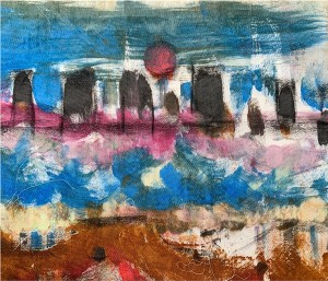 16. BEKIM MORINA. Title: Shoreline. Textile print/painting inspired by the Thames riverside at Greenwich.
