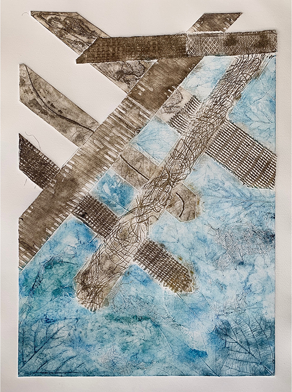 21. ALICE PRIESTLAND. Title: Caprice. Medium: Mixed media collagraph, ink on paper. This piece reflects on the meeting of the man-made and the natural at the coastal shoreline, and in particular decaying man-made structures, like old piers. I hope it conveys a sense of unease at the power of the sea.