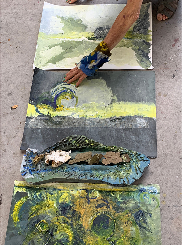 25. BARBARA TAYLOR. Title: Response to Shoreline Theme. Focusing on the work of Van Gogh and breaking the boundaries between confinement and freedom. Mixed media approach, including plaster casting, acrylic, collage and felt making.