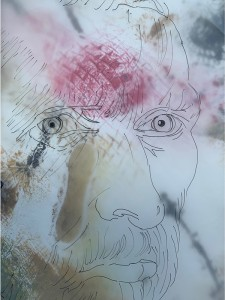 26. BARBARA TAYLOR. Title: Van Gogh, a portrait. Pen and ink and collagraph print.