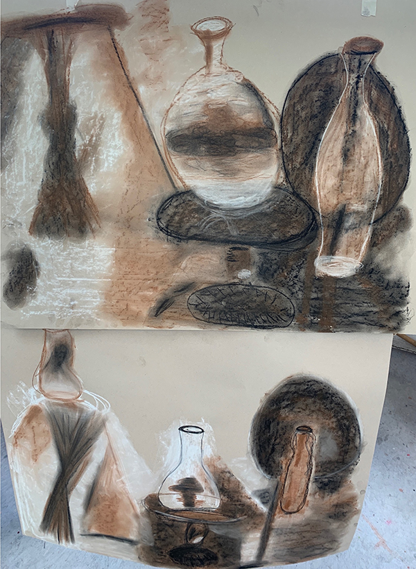 5. KATHRYN CLINKSCALES. Title: Still Life Presence. The Genie in the Bottle. Charcoal, pastel on sugar paper.