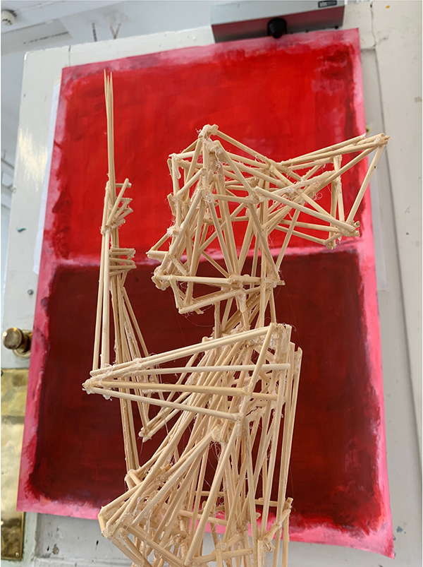 7. LAYNE COMARASAWMY. Title: Looking through to Rothko Mixed Media Acrylic Paint and Bamboo Skewers
